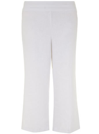White Linen Blend Trousers - length: standard; pattern: plain; waist: mid/regular rise; predominant colour: white; occasions: casual; fibres: linen - mix; texture group: linen; fit: wide leg; pattern type: fabric; style: standard; season: s/s 2014