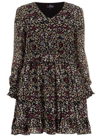 Lovedrobe Black Buttefly Print Dress - length: mid thigh; neckline: v-neck; occasions: casual, evening, occasion, creative work; fit: fitted at waist & bust; style: fit & flare; fibres: polyester/polyamide - 100%; hip detail: subtle/flattering hip detail; predominant colour: multicoloured; sleeve length: long sleeve; sleeve style: standard; texture group: sheer fabrics/chiffon/organza etc.; pattern size: big & busy; pattern: patterned/print; season: s/s 2014; multicoloured: multicoloured