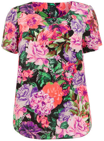 Neon Floral Shell Top - neckline: round neck; length: below the bottom; occasions: casual; style: top; fibres: polyester/polyamide - 100%; fit: straight cut; predominant colour: multicoloured; sleeve length: short sleeve; sleeve style: standard; texture group: crepes; pattern type: fabric; pattern: florals; trends: furious florals; season: s/s 2014; pattern size: big & busy (top); multicoloured: multicoloured