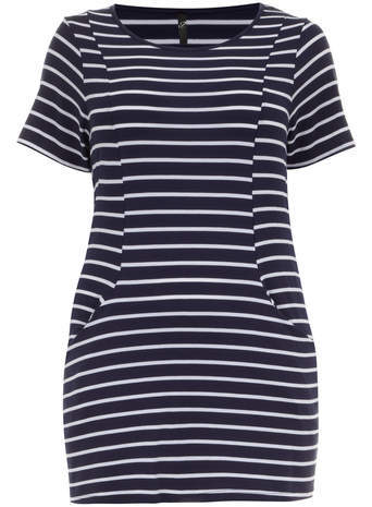 Navy & White Stripe Pocket Tunic - neckline: round neck; pattern: horizontal stripes; length: below the bottom; style: tunic; secondary colour: white; predominant colour: navy; occasions: casual, creative work; fibres: viscose/rayon - stretch; fit: body skimming; sleeve length: short sleeve; sleeve style: standard; pattern type: fabric; texture group: jersey - stretchy/drapey; season: s/s 2014