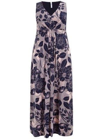 Dusky Pink & Blue Floral Maxi Dress - neckline: v-neck; fit: empire; sleeve style: sleeveless; style: maxi dress; length: ankle length; waist detail: flattering waist detail; secondary colour: navy; predominant colour: taupe; occasions: casual, evening; fibres: viscose/rayon - stretch; sleeve length: sleeveless; pattern type: fabric; pattern: florals; texture group: jersey - stretchy/drapey; trends: furious florals; season: s/s 2014