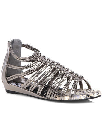 Demi Metallic Silver Gladiator Low Wedge Sandal - predominant colour: silver; occasions: casual, holiday; material: faux leather; heel height: flat; ankle detail: ankle strap; heel: wedge; toe: toe thongs; style: strappy; finish: metallic; pattern: plain; season: s/s 2014