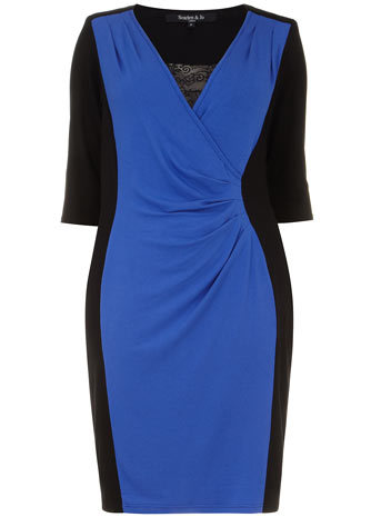 Scarlett & Jo Blue Powerfit Dress - style: shift; neckline: low v-neck; waist detail: twist front waist detail/nipped in at waist on one side/soft pleats/draping/ruching/gathering waist detail; predominant colour: diva blue; secondary colour: black; occasions: evening, occasion, creative work; length: just above the knee; fit: body skimming; fibres: viscose/rayon - stretch; sleeve length: half sleeve; sleeve style: standard; pattern type: fabric; pattern size: light/subtle; pattern: colourblock; texture group: jersey - stretchy/drapey; season: s/s 2014