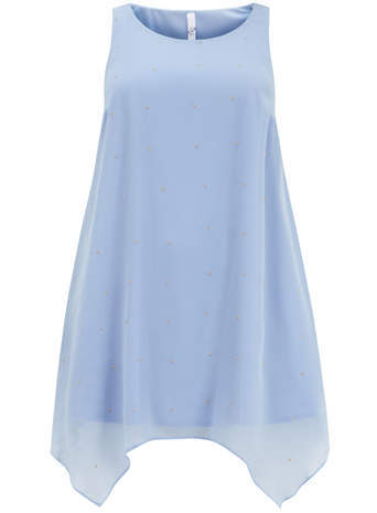 Blue Stud Tunic Dress - style: tunic; length: mid thigh; neckline: round neck; fit: loose; pattern: plain; sleeve style: sleeveless; predominant colour: pale blue; occasions: casual, evening; fibres: polyester/polyamide - 100%; sleeve length: sleeveless; texture group: sheer fabrics/chiffon/organza etc.; season: s/s 2014