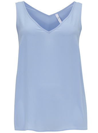 Blue Swing Woven Vest - neckline: low v-neck; pattern: plain; sleeve style: sleeveless; style: vest top; back detail: back revealing; predominant colour: pale blue; occasions: casual, creative work; length: standard; fibres: polyester/polyamide - 100%; fit: straight cut; sleeve length: sleeveless; pattern type: fabric; texture group: woven light midweight; trends: sorbet shades; season: s/s 2014