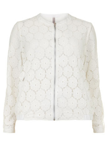 Collection Ivory Lace Bomber Jacket - collar: round collar/collarless; style: bomber; predominant colour: ivory/cream; occasions: casual, creative work; length: standard; fit: straight cut (boxy); fibres: cotton - mix; sleeve length: long sleeve; sleeve style: standard; texture group: lace; collar break: high; pattern type: fabric; pattern: patterned/print; embellishment: lace; trends: lace; season: s/s 2014