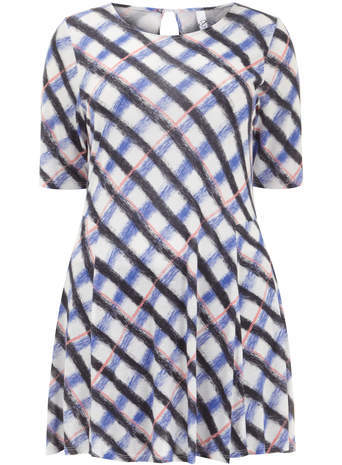 Ivory Pastel Check Swing Top - neckline: round neck; pattern: checked/gingham; length: below the bottom; style: tunic; predominant colour: blush; secondary colour: royal blue; occasions: casual; fibres: viscose/rayon - 100%; fit: loose; sleeve length: 3/4 length; sleeve style: standard; pattern type: fabric; pattern size: standard; texture group: jersey - stretchy/drapey; season: s/s 2014