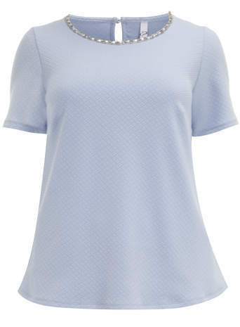 Blue Textured Shell Top - neckline: round neck; pattern: plain; predominant colour: pale blue; occasions: casual, work, occasion, creative work; length: standard; style: top; fibres: polyester/polyamide - stretch; fit: loose; back detail: keyhole/peephole detail at back; sleeve length: short sleeve; sleeve style: standard; pattern type: fabric; texture group: jersey - stretchy/drapey; embellishment: crystals/glass; trends: sorbet shades, summer sparkle; season: s/s 2014