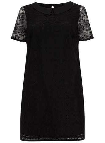 Black Lace Tunic Top - style: tunic; predominant colour: black; occasions: casual, evening; fibres: polyester/polyamide - 100%; fit: loose; neckline: no opening/shirt collar/peter pan; length: mid thigh; back detail: keyhole/peephole detail at back; sleeve length: short sleeve; sleeve style: standard; texture group: lace; pattern type: fabric; pattern: patterned/print; trends: lace; season: s/s 2014