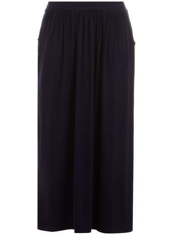 Navy A Line Maxi Skirt - pattern: plain; length: ankle length; fit: loose/voluminous; waist: mid/regular rise; predominant colour: navy; occasions: casual, holiday; style: maxi skirt; fibres: viscose/rayon - stretch; pattern type: fabric; texture group: jersey - stretchy/drapey; season: s/s 2014
