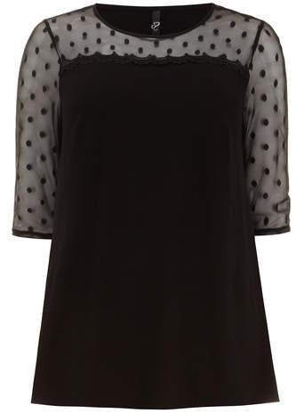 Black Spot Mesh Jersey Top - neckline: round neck; bust detail: sheer at bust; length: below the bottom; pattern: polka dot; shoulder detail: contrast pattern/fabric at shoulder; predominant colour: black; occasions: casual, evening, creative work; style: top; fibres: viscose/rayon - stretch; fit: body skimming; sleeve length: 3/4 length; sleeve style: standard; pattern type: fabric; pattern size: standard; texture group: jersey - stretchy/drapey; season: s/s 2014