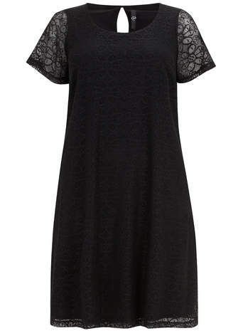 Black Daisy Lace Swing Dress - style: a-line; neckline: round neck; fit: loose; predominant colour: black; occasions: evening; length: just above the knee; fibres: polyester/polyamide - 100%; back detail: keyhole/peephole detail at back; sleeve length: short sleeve; sleeve style: standard; texture group: lace; pattern type: fabric; pattern: patterned/print; embellishment: lace; season: s/s 2014