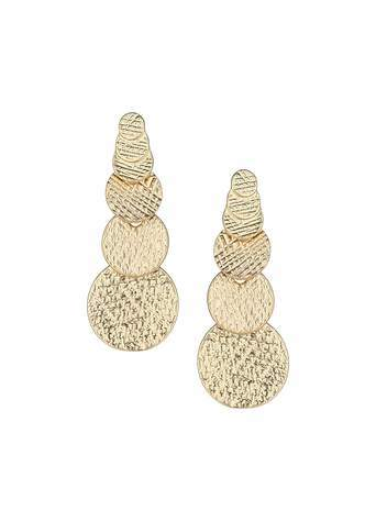 Gold Layered Disc Drop Earrings - predominant colour: gold; occasions: evening, occasion, creative work; style: drop; length: mid; size: standard; material: chain/metal; fastening: pierced; finish: metallic; season: s/s 2014
