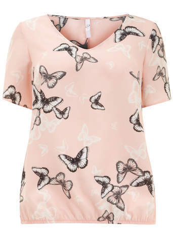 Pink Butterfly Print Bubble Top - neckline: v-neck; predominant colour: blush; occasions: casual, creative work; length: standard; style: top; fibres: polyester/polyamide - 100%; fit: body skimming; sleeve length: short sleeve; sleeve style: standard; pattern type: fabric; pattern: patterned/print; texture group: jersey - stretchy/drapey; season: s/s 2014