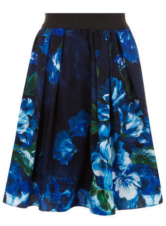 Scarlett & Jo Blue Floral Print Prom Skirt - style: full/prom skirt; fit: loose/voluminous; waist: mid/regular rise; predominant colour: royal blue; secondary colour: black; occasions: casual, occasion, creative work; length: on the knee; fibres: polyester/polyamide - 100%; pattern type: fabric; pattern: florals; texture group: other - light to midweight; trends: furious florals; season: s/s 2014; pattern size: standard (bottom)