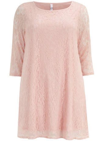 Pink Lace Swing Top - neckline: round neck; predominant colour: blush; occasions: casual; style: top; fit: loose; length: mid thigh; sleeve length: 3/4 length; sleeve style: standard; texture group: lace; pattern type: fabric; pattern: patterned/print; fibres: nylon - stretch; trends: sorbet shades, lace; season: s/s 2014