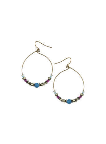 Mix Bead Hoop Earrings - predominant colour: gold; occasions: casual, evening, occasion, creative work; style: hoop; length: mid; size: small/fine; material: chain/metal; fastening: pierced; finish: plain; embellishment: beading; season: s/s 2014
