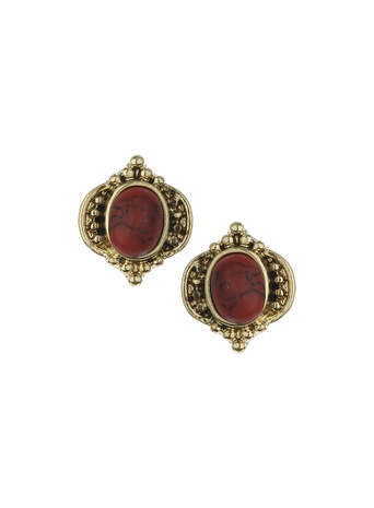 Semi Precious Coral Stud Earrings - secondary colour: true red; predominant colour: gold; occasions: evening, work, occasion; style: stud; length: short; size: small/fine; material: chain/metal; fastening: pierced; finish: metallic; embellishment: jewels/stone; season: s/s 2014