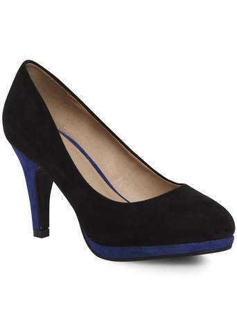 Jade Black Colourblock Suedette Platform Court - secondary colour: navy; predominant colour: black; occasions: evening, work, creative work; heel height: high; heel: stiletto; toe: pointed toe; style: courts; finish: plain; pattern: colourblock; material: faux suede; shoe detail: platform; season: s/s 2014