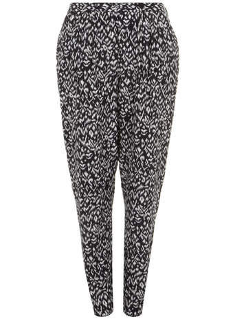 Live Unlimited Monochrome Ikat Print Soft Trousers - length: standard; style: peg leg; waist: mid/regular rise; secondary colour: white; predominant colour: black; occasions: casual, creative work; fibres: viscose/rayon - 100%; fit: tapered; pattern type: fabric; pattern: patterned/print; texture group: other - light to midweight; season: s/s 2014; trends: monochrome; pattern size: standard (bottom)
