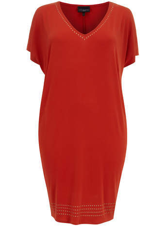 Live Unlimited Orange Trimmed Tunic Dress - style: t-shirt; neckline: low v-neck; sleeve style: angel/waterfall; fit: loose; pattern: plain; predominant colour: terracotta; occasions: casual; length: on the knee; fibres: viscose/rayon - stretch; sleeve length: short sleeve; pattern type: fabric; texture group: jersey - stretchy/drapey; embellishment: studs; season: s/s 2014; trends: zesty shades