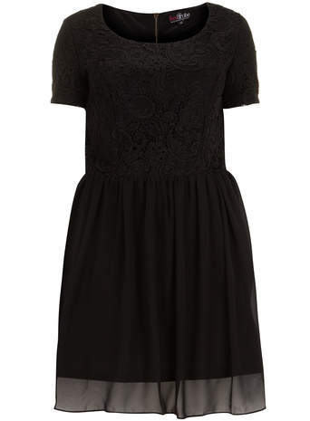 Lovedrobe Black Lace Bodice Dress - length: mid thigh; pattern: plain; predominant colour: black; occasions: casual, evening; fit: fitted at waist & bust; style: fit & flare; neckline: scoop; fibres: polyester/polyamide - 100%; hip detail: subtle/flattering hip detail; sleeve length: short sleeve; sleeve style: standard; texture group: sheer fabrics/chiffon/organza etc.; pattern type: fabric; embellishment: lace; season: s/s 2014; wardrobe: highlight; embellishment location: top