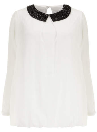 Ivory Embellished Collar Bubble Hem Top - pattern: plain; style: blouse; predominant colour: white; secondary colour: black; occasions: evening, work; length: standard; fibres: polyester/polyamide - 100%; fit: straight cut; neckline: no opening/shirt collar/peter pan; sleeve length: long sleeve; sleeve style: standard; pattern type: fabric; texture group: other - light to midweight; embellishment: sequins; season: s/s 2014