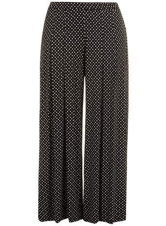 Black And White Spot Wide Leg Trousers - length: standard; pattern: polka dot; waist: mid/regular rise; secondary colour: white; predominant colour: black; occasions: casual, creative work; fibres: viscose/rayon - stretch; fit: wide leg; pattern type: fabric; texture group: other - light to midweight; style: standard; season: s/s 2014; trends: monochrome; pattern size: standard (bottom)
