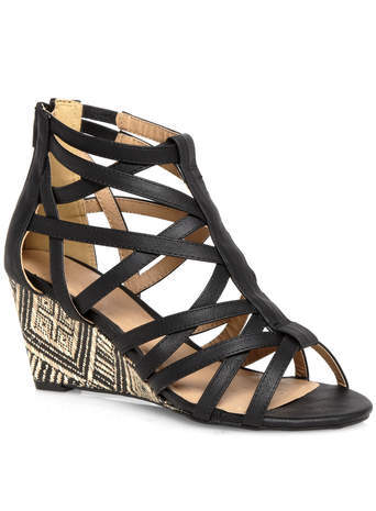Miley Black Caged Strap Raffia Wedges - predominant colour: black; occasions: casual, creative work; material: faux leather; heel height: mid; ankle detail: ankle strap; heel: wedge; toe: open toe/peeptoe; style: gladiators; finish: plain; pattern: plain; season: s/s 2014