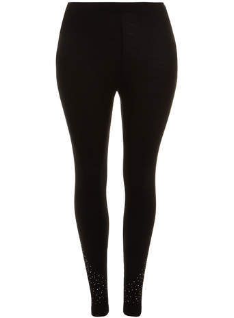Black Diamante Detail Leggings - length: standard; pattern: plain; style: leggings; waist detail: elasticated waist; waist: mid/regular rise; predominant colour: black; occasions: casual, creative work; fibres: viscose/rayon - stretch; fit: skinny/tight leg; pattern type: fabric; texture group: other - clingy; embellishment: crystals/glass; secondary colour: clear; season: s/s 2014; wardrobe: highlight; embellishment location: hip