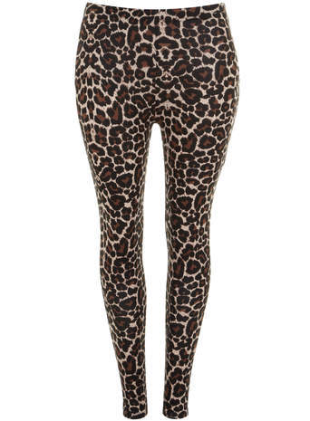 Black Leopard Print Leggings - length: standard; style: leggings; waist: mid/regular rise; secondary colour: chocolate brown; predominant colour: camel; occasions: casual, evening, creative work; fibres: viscose/rayon - stretch; texture group: jersey - clingy; fit: skinny/tight leg; pattern type: fabric; pattern: animal print; season: s/s 2014; pattern size: big & busy (bottom)