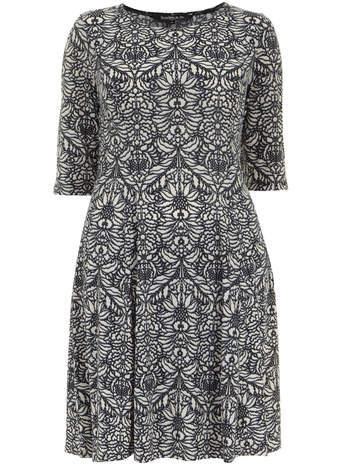 Scarlett & Jo Paisley Fit And Flare Tunic Dress - neckline: round neck; pattern: paisley; predominant colour: white; secondary colour: charcoal; occasions: casual, creative work; length: on the knee; fit: fitted at waist & bust; style: fit & flare; fibres: polyester/polyamide - stretch; sleeve length: short sleeve; sleeve style: standard; pattern type: fabric; pattern size: standard; texture group: jersey - stretchy/drapey; season: s/s 2014; trends: monochrome
