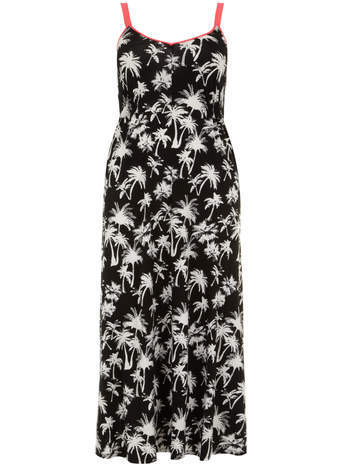 Mono Palm Print Maxi Dress - neckline: low v-neck; sleeve style: spaghetti straps; style: maxi dress; length: ankle length; secondary colour: white; predominant colour: black; occasions: evening, occasion, holiday; fit: fitted at waist & bust; fibres: viscose/rayon - stretch; sleeve length: sleeveless; pattern type: fabric; pattern size: standard; pattern: patterned/print; texture group: jersey - stretchy/drapey; trends: hot brights, monochrome; season: s/s 2014