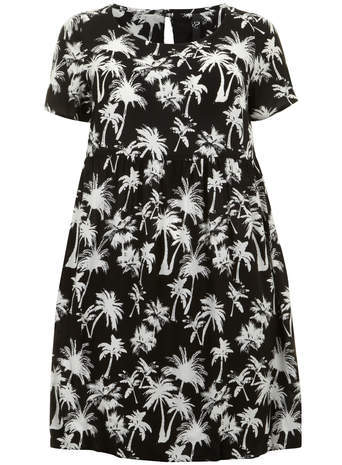 Black & White Palm Print Tunic - neckline: round neck; style: tunic; secondary colour: white; predominant colour: black; occasions: casual; fibres: viscose/rayon - 100%; fit: loose; length: mid thigh; back detail: keyhole/peephole detail at back; sleeve length: short sleeve; sleeve style: standard; pattern type: fabric; pattern: patterned/print; texture group: jersey - stretchy/drapey; season: s/s 2014; trends: monochrome; pattern size: big & busy (top)