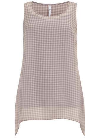 Dusky Pink Check Hanky Hem Vest - neckline: round neck; sleeve style: sleeveless; pattern: checked/gingham; length: below the bottom; style: vest top; predominant colour: blush; occasions: casual, creative work; fit: body skimming; hip detail: subtle/flattering hip detail; sleeve length: sleeveless; texture group: sheer fabrics/chiffon/organza etc.; pattern type: fabric; season: s/s 2014; pattern size: big & busy (top)