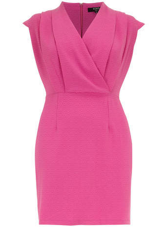 Koko Koko Pink Textured Wrap Over Dress - style: faux wrap/wrap; length: mid thigh; neckline: v-neck; sleeve style: capped; fit: tailored/fitted; pattern: plain; bust detail: subtle bust detail; predominant colour: pink; occasions: evening, occasion; fibres: polyester/polyamide - 100%; shoulder detail: subtle shoulder detail; sleeve length: short sleeve; texture group: crepes; pattern type: fabric; season: s/s 2014; wardrobe: event