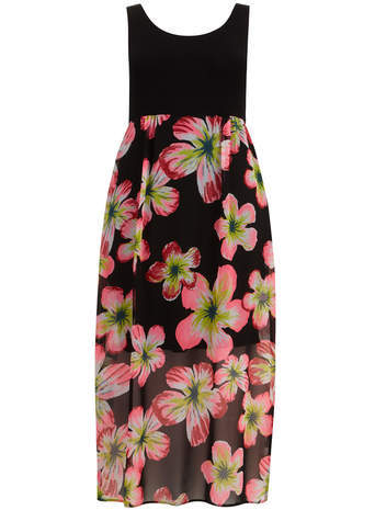 Neon Floral Maxi Dress - sleeve style: standard vest straps/shoulder straps; fit: empire; style: maxi dress; length: ankle length; secondary colour: nude; predominant colour: black; occasions: casual, evening; neckline: scoop; fibres: viscose/rayon - stretch; sleeve length: sleeveless; texture group: sheer fabrics/chiffon/organza etc.; pattern type: fabric; pattern size: big & busy; pattern: florals; season: s/s 2014