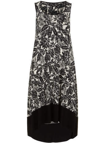 Monochrome Palm Print Dip Hem Maxi Dress - fit: loose; sleeve style: sleeveless; style: maxi dress; length: ankle length; secondary colour: white; predominant colour: black; occasions: casual, holiday; neckline: scoop; fibres: viscose/rayon - stretch; back detail: longer hem at back than at front; sleeve length: sleeveless; pattern type: fabric; pattern size: standard; pattern: florals; texture group: jersey - stretchy/drapey; season: s/s 2014; trends: monochrome
