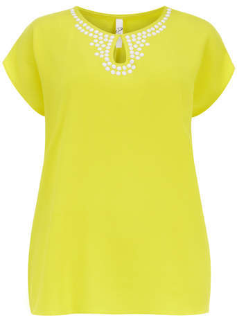 Yellow Embellished Top - pattern: plain; bust detail: added detail/embellishment at bust; predominant colour: yellow; occasions: casual, creative work; length: standard; style: top; neckline: peep hole neckline; fibres: polyester/polyamide - stretch; fit: body skimming; back detail: keyhole/peephole detail at back; sleeve length: short sleeve; sleeve style: standard; pattern type: fabric; texture group: woven light midweight; embellishment: pearls; season: s/s 2014