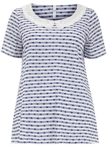 Navy & White Crochet Collar Top - pattern: horizontal stripes; length: below the bottom; secondary colour: white; predominant colour: navy; occasions: casual; style: top; fibres: cotton - 100%; fit: loose; neckline: no opening/shirt collar/peter pan; sleeve length: short sleeve; sleeve style: standard; pattern size: standard; texture group: jersey - stretchy/drapey; embellishment: lace; season: s/s 2014