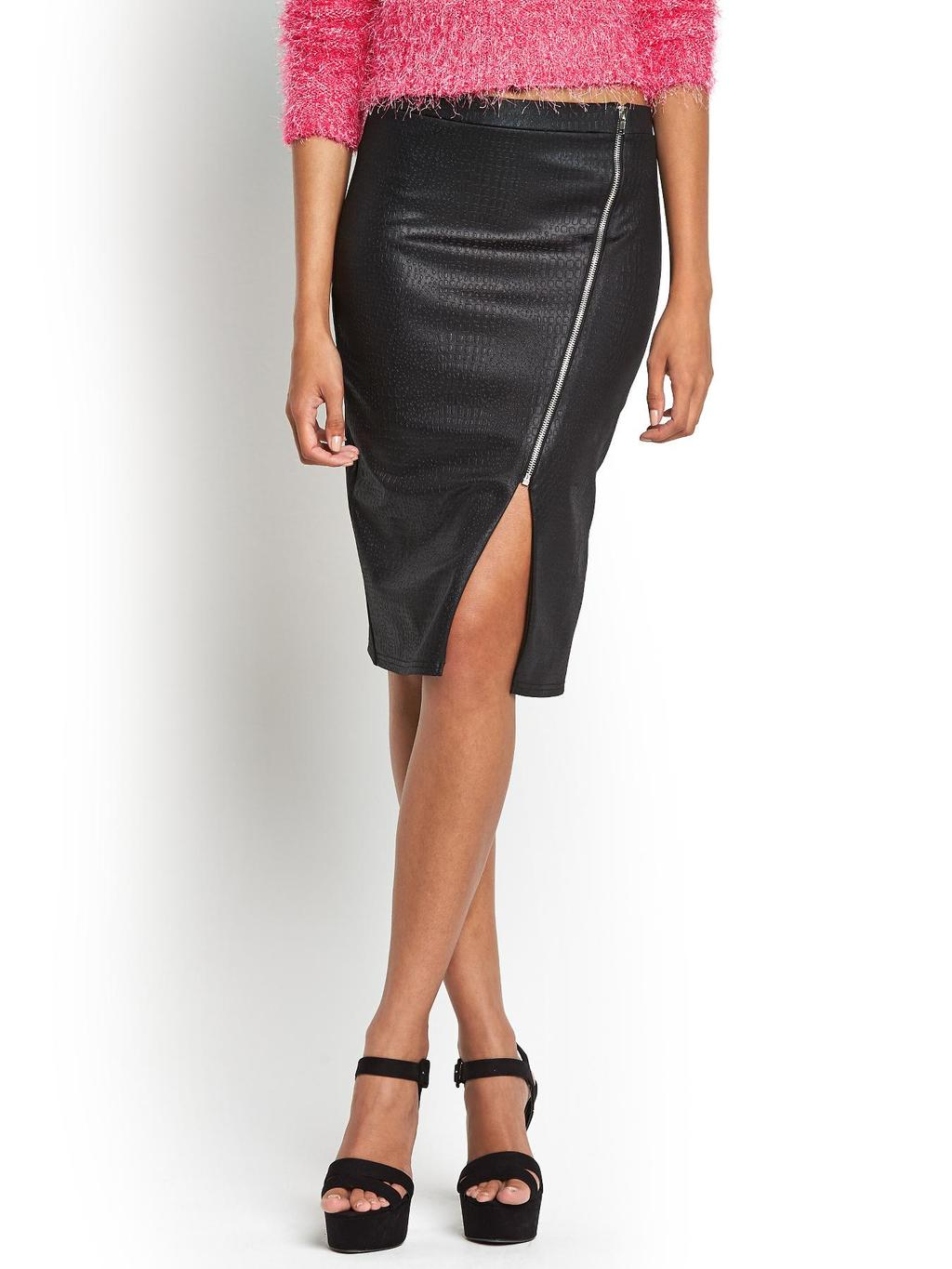 Michelle Keegan Embossed Zip Detail Pu Skirt, Black - pattern: plain; style: pencil; fit: tailored/fitted; waist: mid/regular rise; predominant colour: black; occasions: evening, occasion, creative work; length: on the knee; texture group: leather; pattern type: fabric; fibres: pvc/polyurethene - 100%; embellishment: zips; season: s/s 2014; wardrobe: highlight; embellishment location: waist