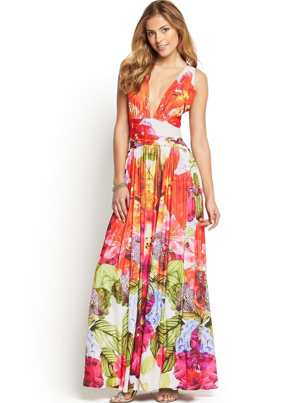 Kayla Print Maxi Dress - neckline: plunge; sleeve style: sleeveless; style: maxi dress; occasions: casual, evening; length: floor length; fit: fitted at waist & bust; fibres: polyester/polyamide - stretch; predominant colour: multicoloured; sleeve length: sleeveless; pattern type: fabric; pattern size: big & busy; pattern: florals; texture group: jersey - stretchy/drapey; trends: furious florals; season: s/s 2014; multicoloured: multicoloured