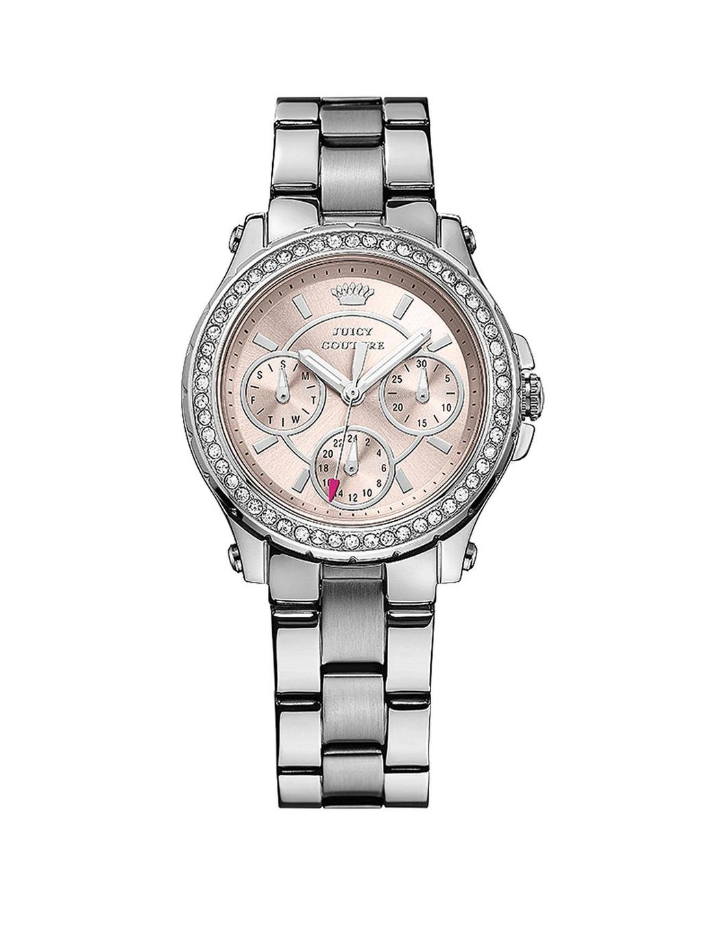 Pedigree Crystal Set Chronograph Stainless Steel Ladies Watch - secondary colour: blush; predominant colour: silver; occasions: casual, work, creative work; style: metal bracelet; size: standard; material: chain/metal; embellishment: crystals/glass; finish: metallic; pattern: plain; season: s/s 2014