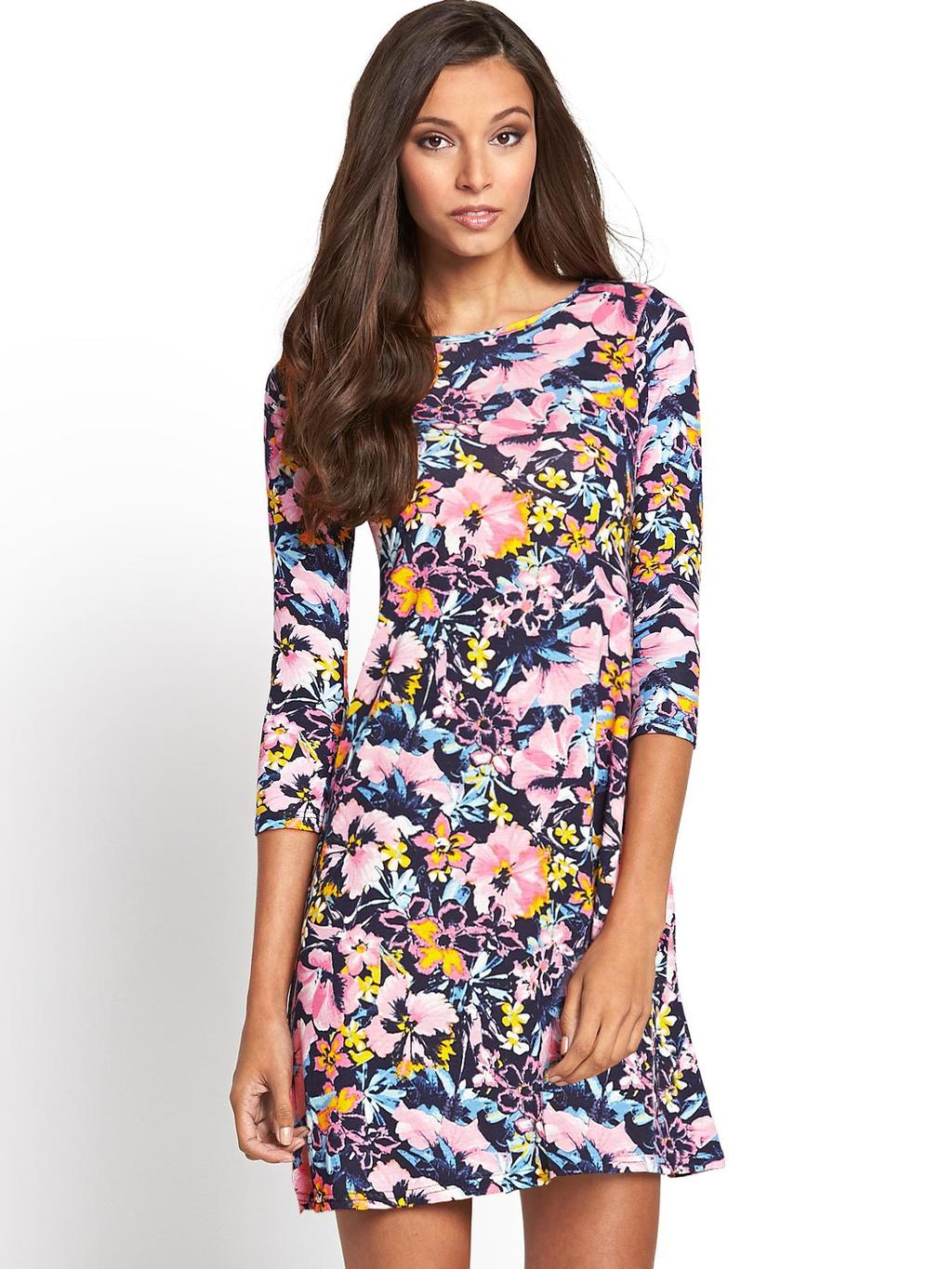 Floral Swing Dress - style: tea dress; length: mid thigh; neckline: round neck; occasions: casual, evening; fit: soft a-line; fibres: polyester/polyamide - stretch; predominant colour: multicoloured; sleeve length: 3/4 length; sleeve style: standard; pattern type: fabric; pattern size: big & busy; pattern: florals; texture group: jersey - stretchy/drapey; trends: furious florals; season: s/s 2014; multicoloured: multicoloured