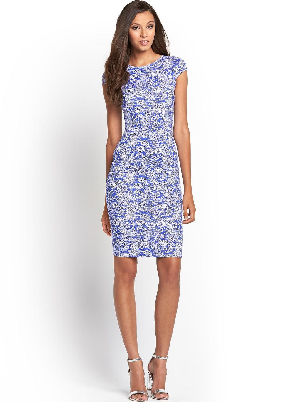 Lace Print Midi Dress, Blue - neckline: round neck; sleeve style: capped; fit: tight; style: bodycon; secondary colour: white; predominant colour: diva blue; occasions: evening, occasion; length: just above the knee; fibres: viscose/rayon - stretch; sleeve length: short sleeve; texture group: jersey - clingy; pattern type: fabric; pattern size: standard; pattern: patterned/print; season: s/s 2014