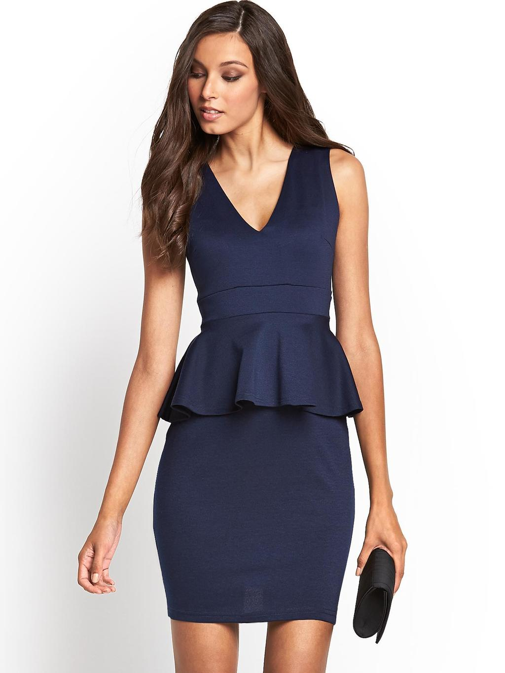 Peplum Dress, Navy - neckline: low v-neck; fit: tailored/fitted; pattern: plain; sleeve style: sleeveless; style: bodycon; waist detail: peplum waist detail; predominant colour: navy; occasions: evening, occasion; length: just above the knee; fibres: polyester/polyamide - stretch; sleeve length: sleeveless; pattern type: fabric; texture group: woven light midweight; season: s/s 2014