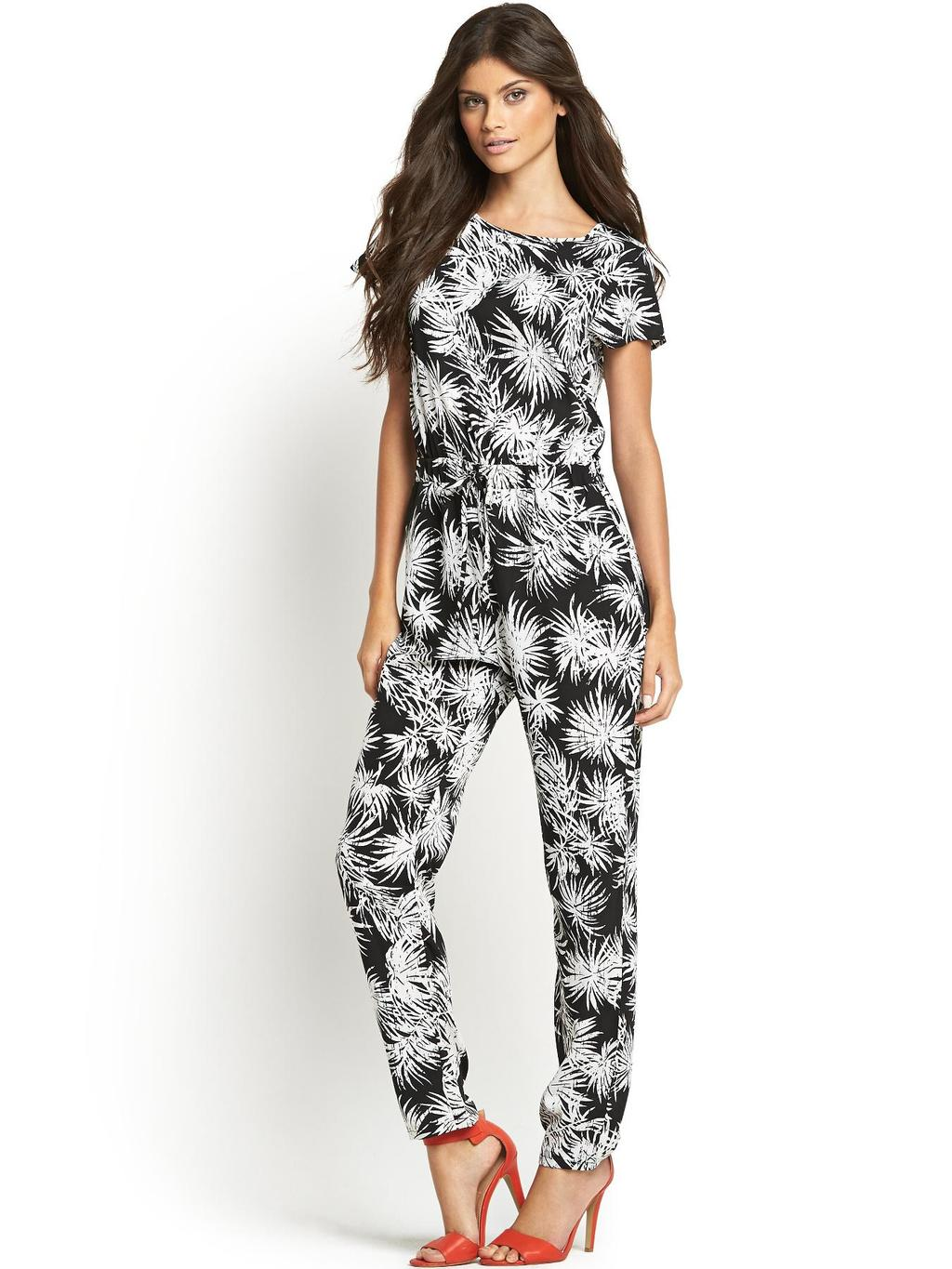Palm Print Jumpsuit, Black - length: standard; neckline: round neck; fit: fitted at waist; waist detail: belted waist/tie at waist/drawstring; secondary colour: white; predominant colour: black; occasions: casual, evening; fibres: polyester/polyamide - 100%; sleeve length: short sleeve; sleeve style: standard; texture group: crepes; style: jumpsuit; pattern size: standard; pattern: florals; season: s/s 2014; trends: monochrome