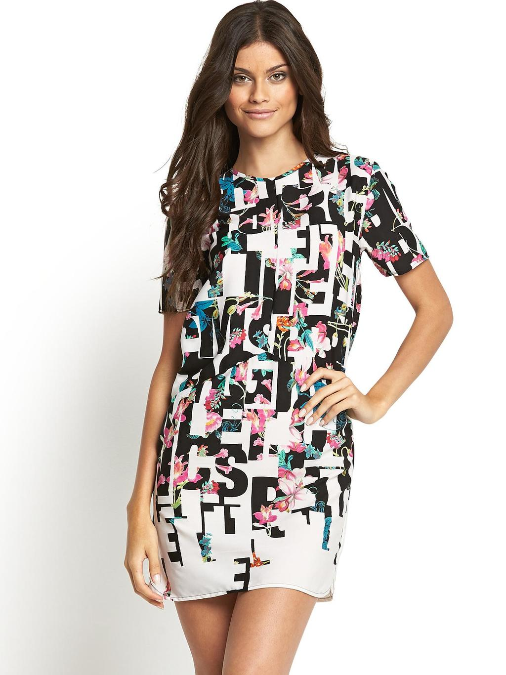 Floral And Letters Shift Dress - style: shift; length: mid thigh; occasions: casual, evening; fit: soft a-line; fibres: polyester/polyamide - 100%; neckline: crew; predominant colour: multicoloured; sleeve length: short sleeve; sleeve style: standard; pattern size: big & busy; pattern: patterned/print; texture group: woven light midweight; trends: furious florals, logos; season: s/s 2014; multicoloured: multicoloured