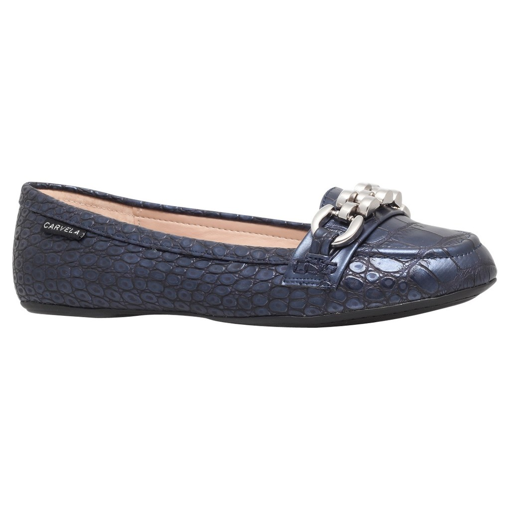 Liberate Chain Detail Loafers - predominant colour: navy; occasions: casual, creative work; material: leather; heel height: flat; toe: round toe; style: loafers; finish: plain; pattern: animal print; embellishment: chain/metal; season: s/s 2014