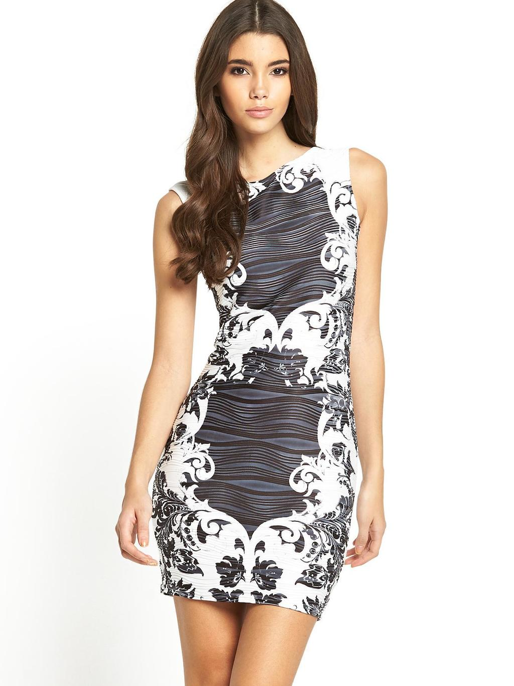 Printed Bodycon Dress, Black - length: mid thigh; fit: tight; sleeve style: sleeveless; style: bodycon; secondary colour: white; predominant colour: charcoal; occasions: evening; fibres: polyester/polyamide - stretch; neckline: crew; sleeve length: sleeveless; texture group: jersey - clingy; pattern type: fabric; pattern size: standard; pattern: patterned/print; season: s/s 2014; trends: monochrome